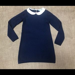 NEW JACADI Navy Wool Blend Collar Dress 8 122